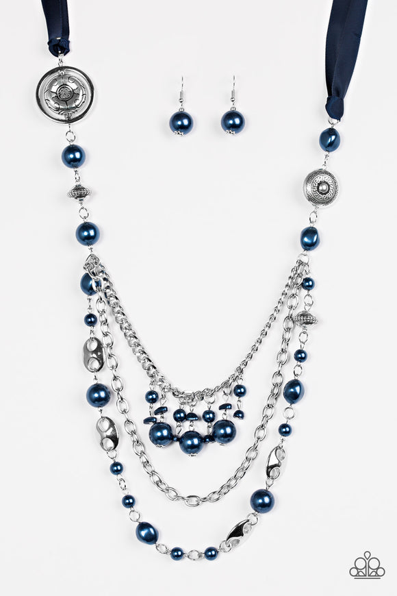 Paparazzi All The Trimmings - Blue Blockbuster Necklace - Black Diamond Exclusive