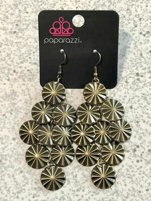 Paparazzi Star Spangled Shine - Brass - Star Patterns - Earrings - Lauren's Bling $5.00 Paparazzi Jewelry Boutique