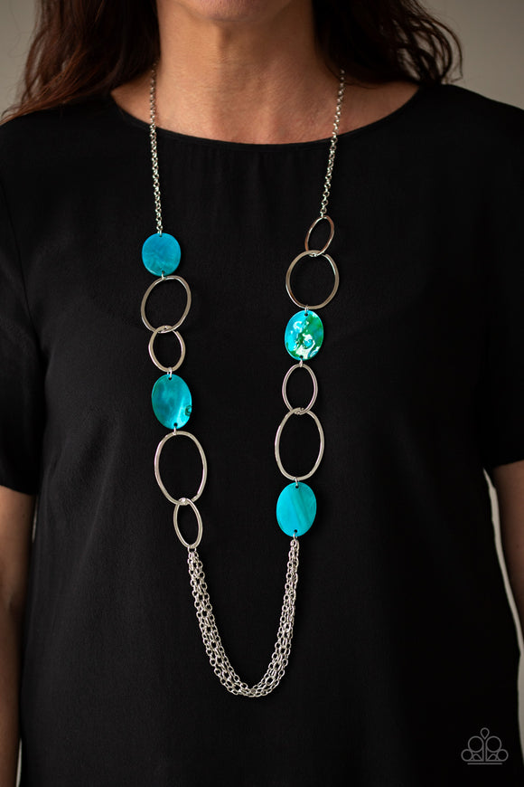 Paparazzi Kaleidoscope Coasts - Blue - Shell Iridescence Beads - Necklace & Earrings - Lauren's Bling $5.00 Paparazzi Jewelry Boutique