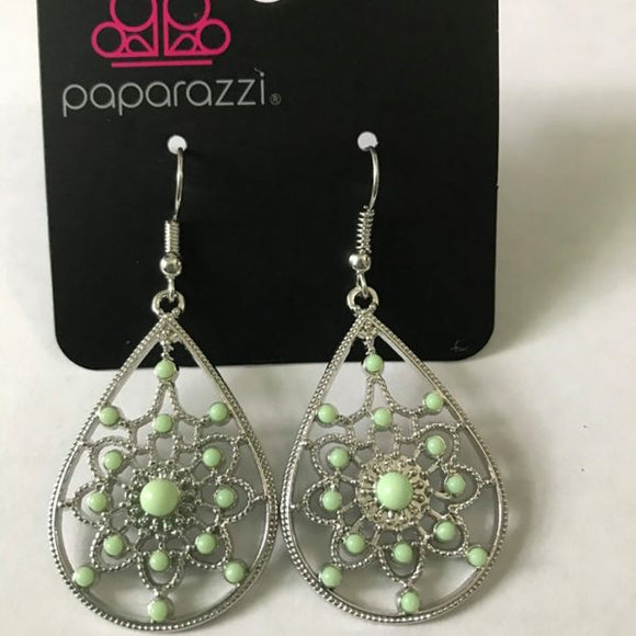 Paparazzi A Flair For Fabulous - Green Beads - Silver Earrings - Life of the Party Reward Exclusive