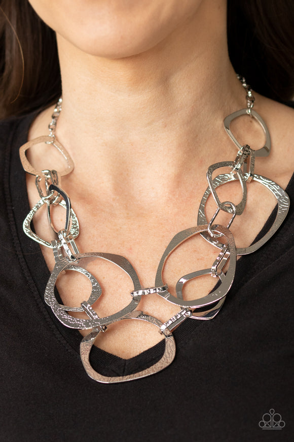 Paparazzi Salvage Yard - Silver - Necklace & Earrings - Life of the Party Exclusive October 2020