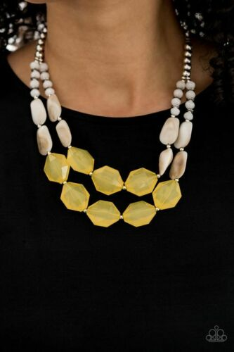 Paparazzi Seacoast Sunset - Yellow - Faceted Beads - Silver, Opaque Crystals - Necklace & Earrings - Lauren's Bling $5.00 Paparazzi Jewelry Boutique