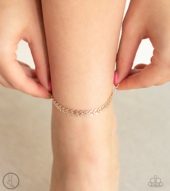 Paparazzi West Coast Goddess - Rose Gold Leafy - Ankle Bracelet - Anklet