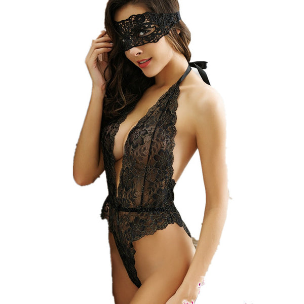 Sexy full slips women hollow out lace mask + slip sets women intimates Open chest spandex slip