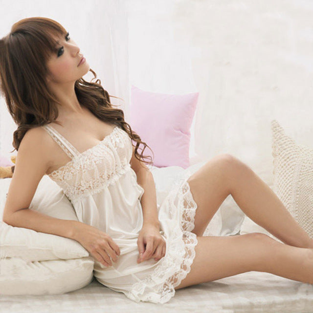 Lisacmvpnel Sexy Lace Spaghetti Strap Women Nightgown Lovely Ice Silk V-Neck Female Nightdress