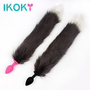 IKOKY Sexy Fox Tail Butt Plug Romance Anal Plug Sex Toys for Men Women Adult Products Dildo Silicone Backyard Plug Erotic Toys