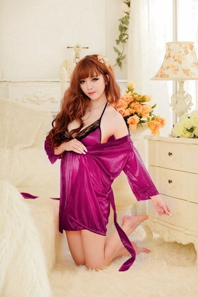 Echoine Satin Nightgown Set for Women 2 Piece Robe Sets Lady's Sexy Sleepwear Lace Robe Faux Silk Female Nightwear Multi Colors