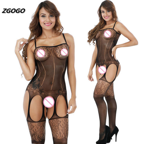 ZGOGO slip women black full body slips open crotch hot intimates sexy slips