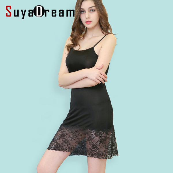 Women Full Slips 100% Natural SILK Lace slip Basic Anti emptied slips Adjustable shoulder Solid Nude Black White