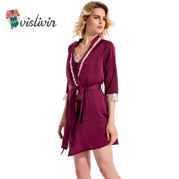 Vislivin women sexy sleepdress+bathrobe two-piece robe&gown set new arrival lace embroidery silk sleepwear big size pijamas set