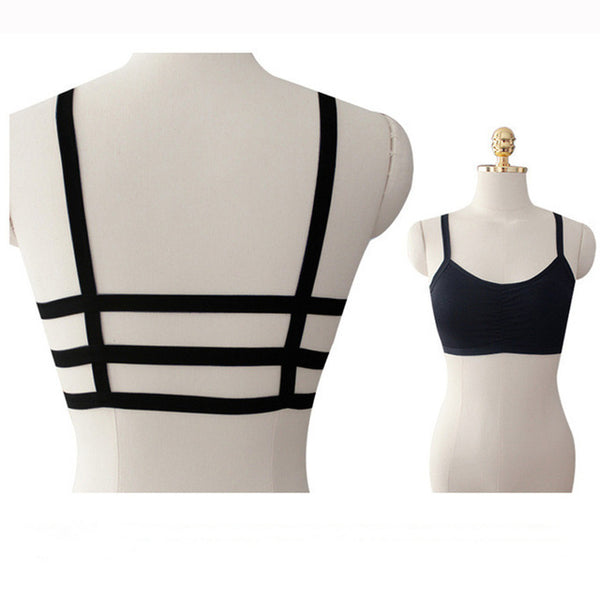 2017 Womens workout camisole bandage Crop top black&white Modal Strappy Fashion Backless bra camis fitness tank tops women