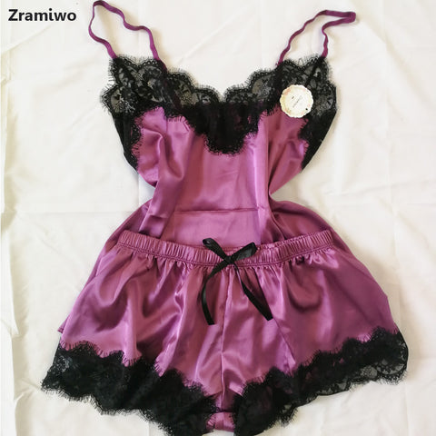 Women's Sleepwear Sexy Satin Pajama Set Black Lace V-Neck Pyjamas Sleeveless Cute Cami Top and Shorts