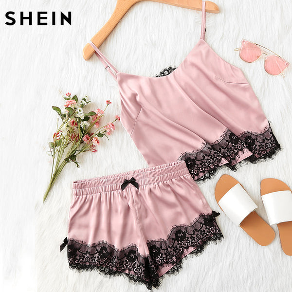 SHEIN Pink Spaghetti Strap Lace Applique Satin Cami Top and Shorts Pajama Set Fall Womens Sleepwear Pajama Set