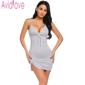 Avidlove Sexy Cotton Nightgown Women Sleeveless Strap Nightwear Sleepwear Female Lounge Wear Night Dress Home Sleepshirt Nighty