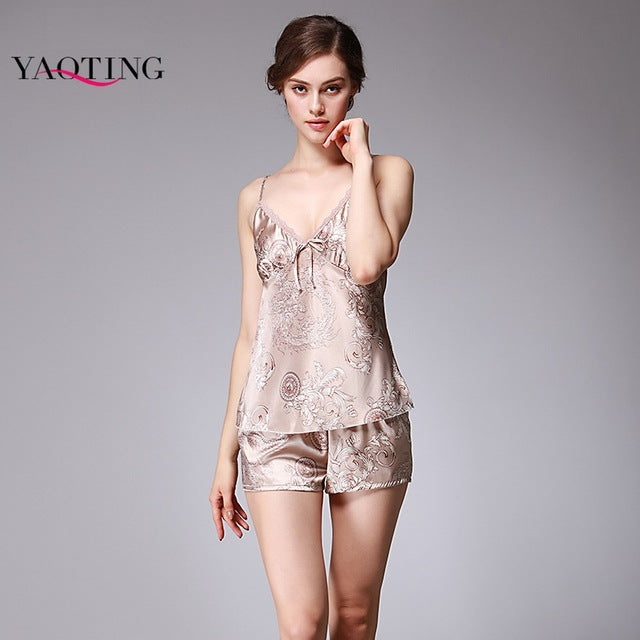 Satin silk pajamas sexy Cami silk nightgown summer women harness piece shorts suit Nighties Silk Sleepwear Sets