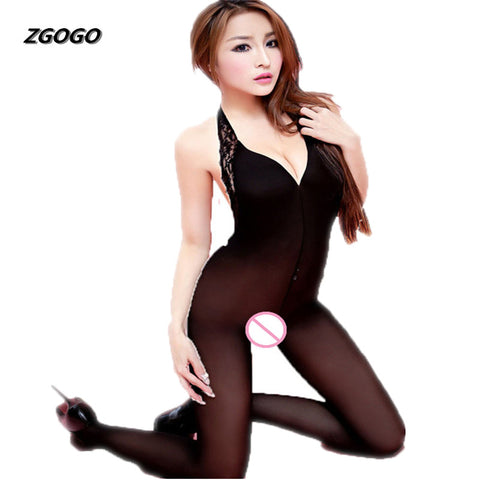 ZGOGO fashion one piece Sexy Women Underwear Full Slips Open Files Silk Stockings Slip Bodysuit Ropa Interior Mujer