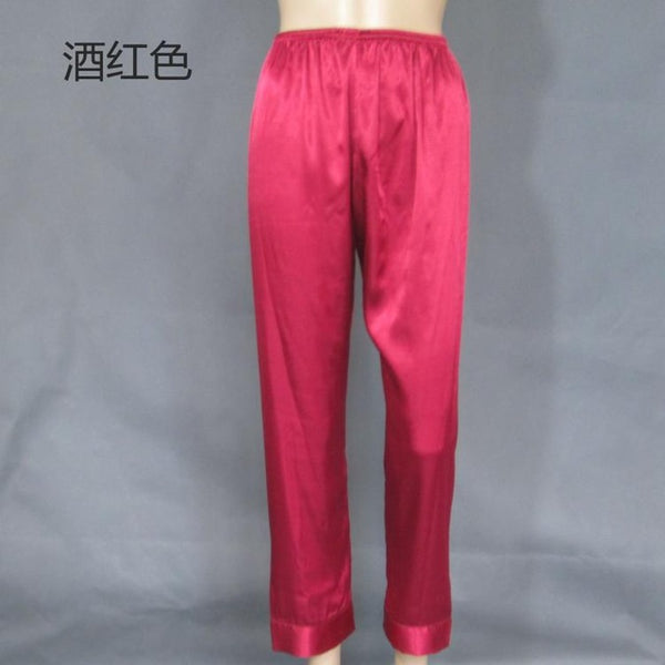 XL XXL XXXL Plus Size Pyjama Bottoms Spring Summer Faux Silk Women Pajama Pant Women's Lounge Pant Red/Black Pyjama TrousersQ335