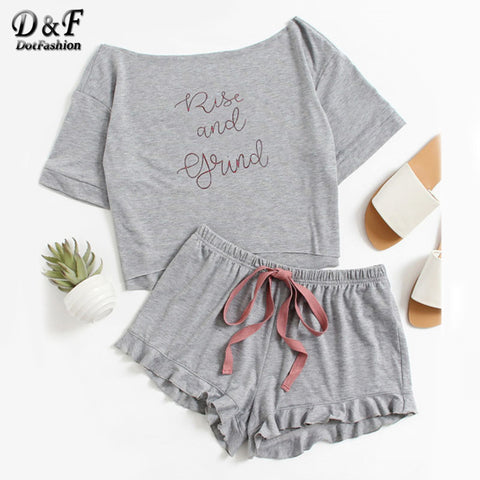 Dotfashion High Low Top And Frill Hem Shorts Pajama Set Women Letter Set Two Piece 2017 Grey Boat Neck Long Sleeve Pajama Set