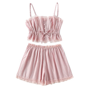 COLROVIE 2017 Contrast Lace Cami With Shorts Pajama Set Women Pink Spaghetti Strap Sleeveless Drawstring Waist Cute Sleepwear