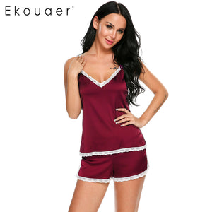 Ekouaer Women Clothes For Summer Shorts Sets V-Neck Sleepwear Satin Pajama Women's Pajamas Spaghetti Strap Lace Sexy Pajama Set
