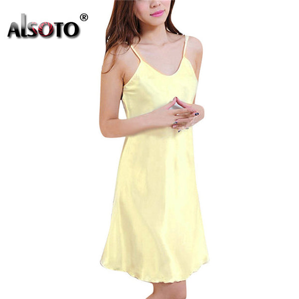 Ladies Sexy Silk Satin Night Dress Sleeveless Nighties V-neck Nightwear For Women Nightgown Plus Size Nightdress Sleepwear