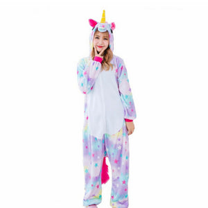 2018 Winter pink unicorn Pajama Sets Cartoon Sleepwear Women Pajama Flannel Animal Stitch Panda Unicorn Tigger Pajama kigurumi
