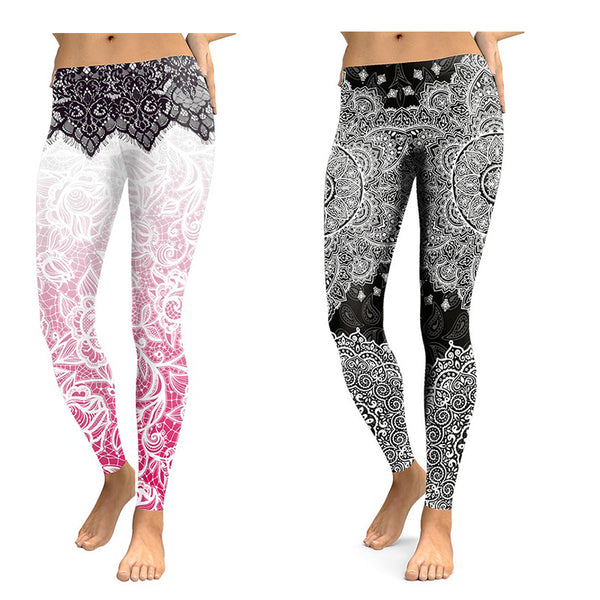 Pajama leggings Stretch warm self-cultivation trousers summer Mandala flower print pants Women lounge pants XL size Leggings