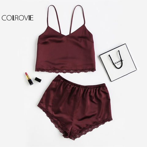 COLROVIE Sleeveless Lace Trim Satin Cami And Shorts Pajama Set 2018 New Burgundy V Neck Sexy Set Sleepwear Summer Women Pajamas