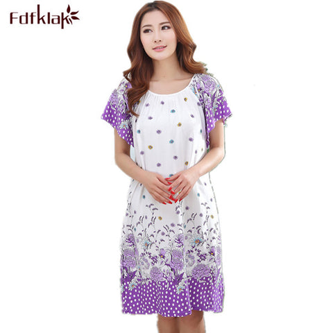 Plus Size Nightgowns For Women 2018 Summer Dressing Gowns Girls Nightshirts Nightdress Cotton And Silk Sleepshirt L-XXL E1082
