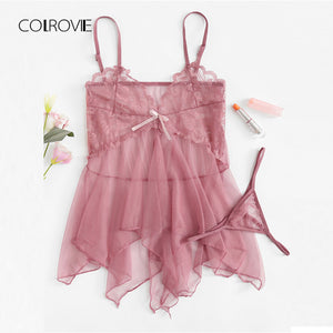 COLROVIE Asymmetric Mesh Tie Summer Night Set 2018 New Purple Lace Women Romantic Nightgowns Sleeveless Sexy V-Neck Sleepwear