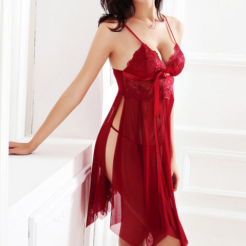Women Nightgown 2018 Hot Nightwear Sexy Lingerie Lace Slits Nightdress V-neck Nightie Vintage Sleepwear Female Robe Pijama