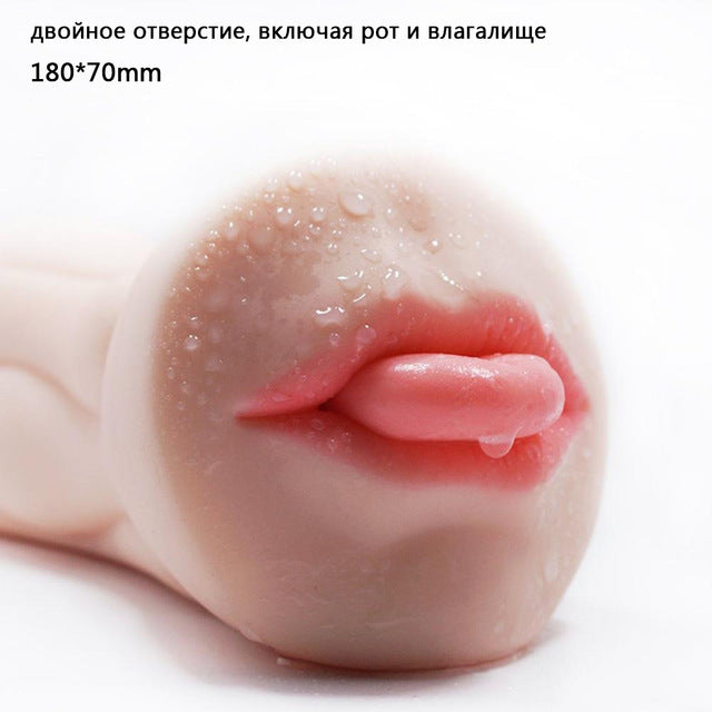 Double Hole Channel Artificial Vagina Male Masturbator Real Pussy Portable Pussy 3D Oral Sex Toy for Men Deep Throat with Tongue