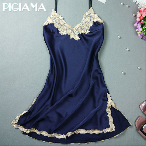 Sexy Nightgowns Embroidered Mini Night Dress V-Neck Silk Lace Nightie Sleepwear Women's Dresses Shirt Pyjamas Lingerie Babydoll