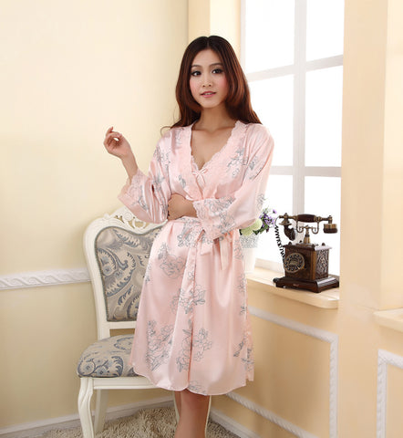 Freeshipping Spring/Summer/Autumn Sexy Women's Spaghetti Strap Nightgown Sleepwear Female Silk Robe Twinset Lounge Set