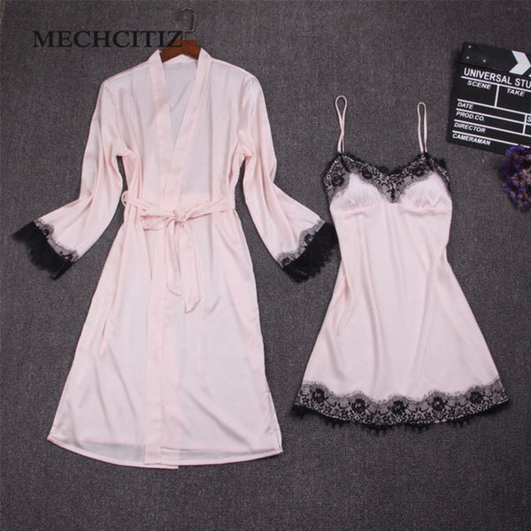 MECHCITIZ Female Sexy Bra Pajamas Silk Bathrobes Dress Nightgown Female Two Piece Nightdress Lace Robes Clothing Home Furnishing