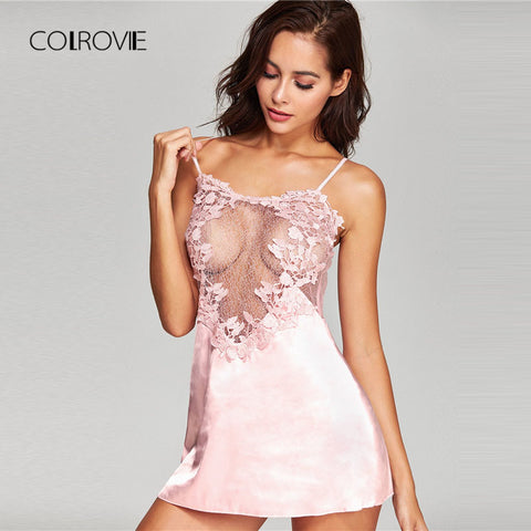 COLROVIE Without Panty Crochet Lace Applique Slips Night Dress 2018 Summer Spaghetti Strap Women Sleepwear New Sexy Nightgown