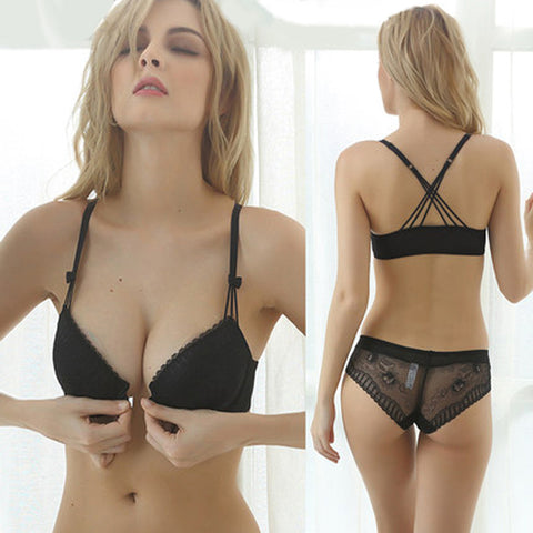 Sexy Mousse Lace Push Up Padded  Bras Gathering Underwear Set Women vs Transparent Lingerie bra Set ABCD Cup Front Closure