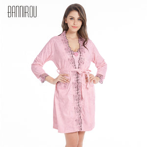 Plus Size Sexy Woman Bathrobe Nightgowns Set Full Cotton Embroidered Floral Female 2 Piece Home Wear Sleep Suit Robe Sleepshirts