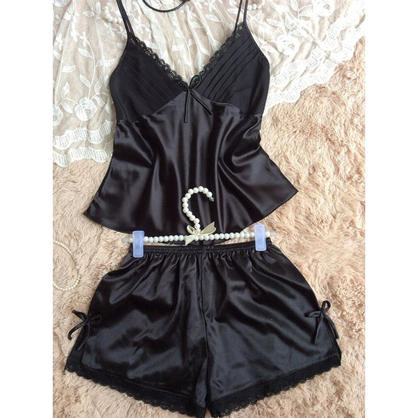 Summer new women's sexy suspenders shirt shorts pajamas two-piece suit silk home service pajamas suits