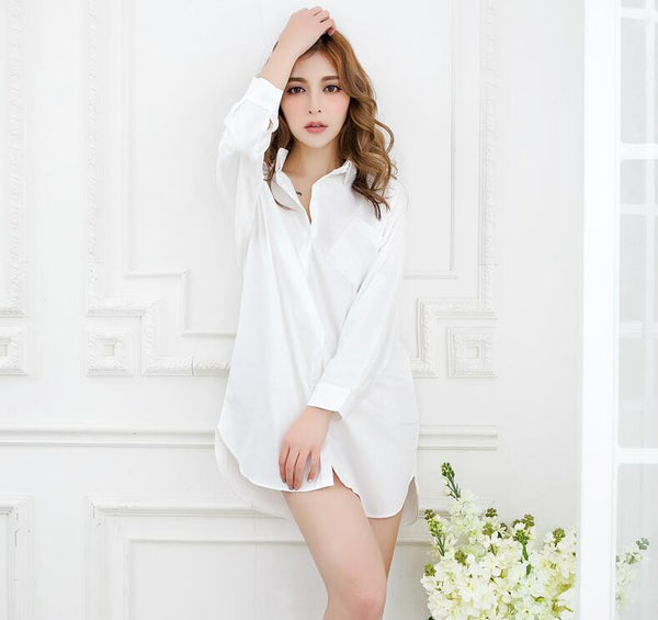 White shirt sleepwear female medium-long shirt sexy shirt nightgown 100% cotton loose