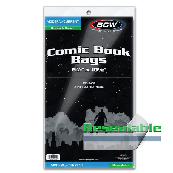 Comic Bags - Current Size Resealable (100 count pack)