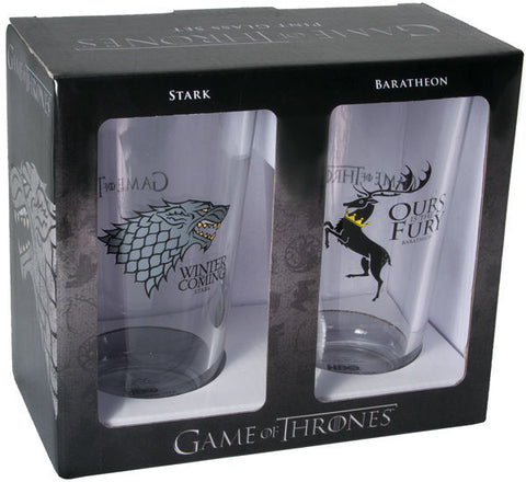 Game of Thrones Pint Glass Set Stark and Baratheon