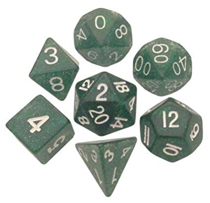 16mm Ethereal Green with White Numbers Resin Dice Set