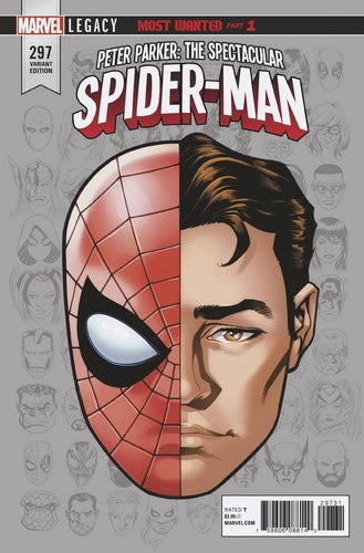 Peter Parker The Spectacular Spider-Man (2017) #297 (1:10 Legacy Headshot Variant Leg)