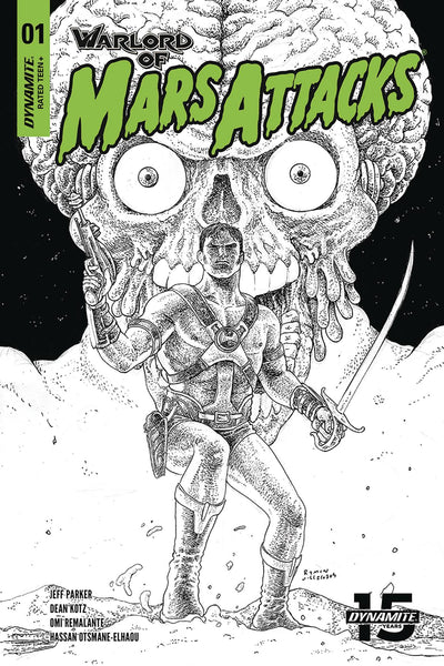 Warlord of Mars Attacks (2019) #1 (1:40 VILLALOBOS B&W VARIANT)