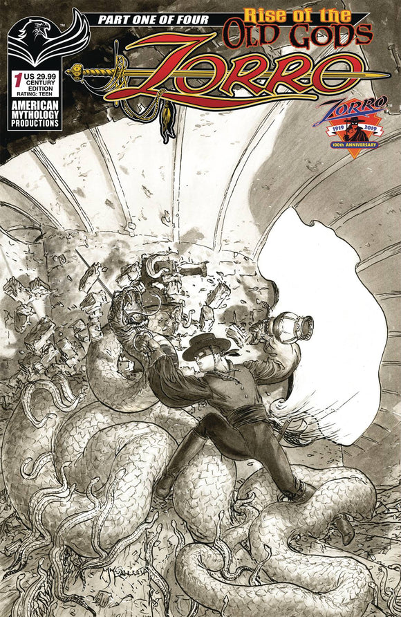 Zorro Rise of the Old Gods (2019) #1 (CVR CENTURY ED B&W KALUTA)