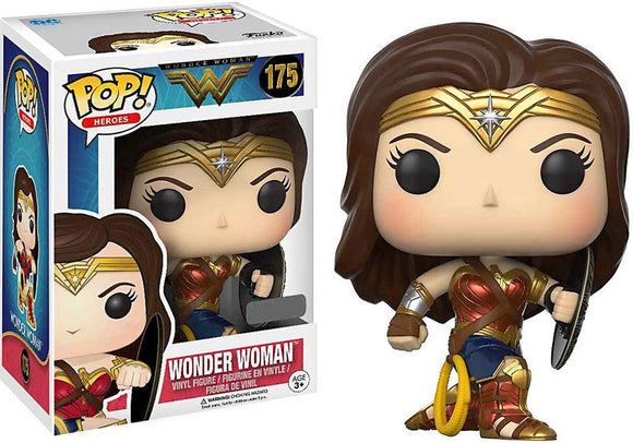 POP DC MOVIES WONDER WOMAN EXCLUSIVE VINYL FIGURE #175 [Metallic With Shield]