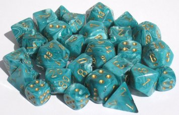 16mm Blue/White with Gold Numbers Combo Attack Resin Dice Set