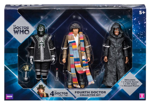 Doctor Who 4th Doctor, Black Robot, D84, and Decayed Master Action Figure Set