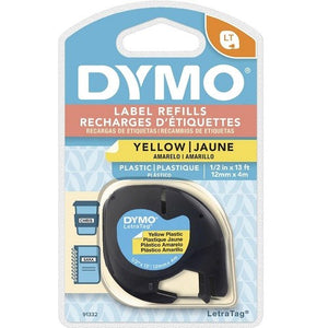 Dymo Label Refills Yellow Plastic 12mm x 4m